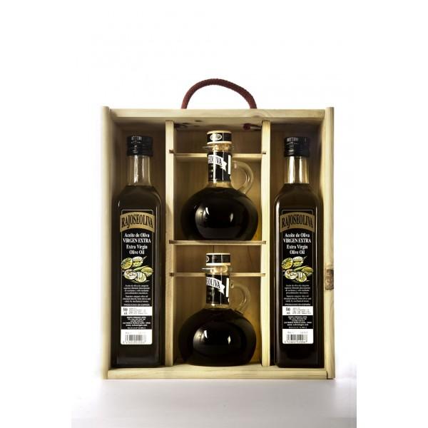 Caja madera 2 jarra + 2 botellas